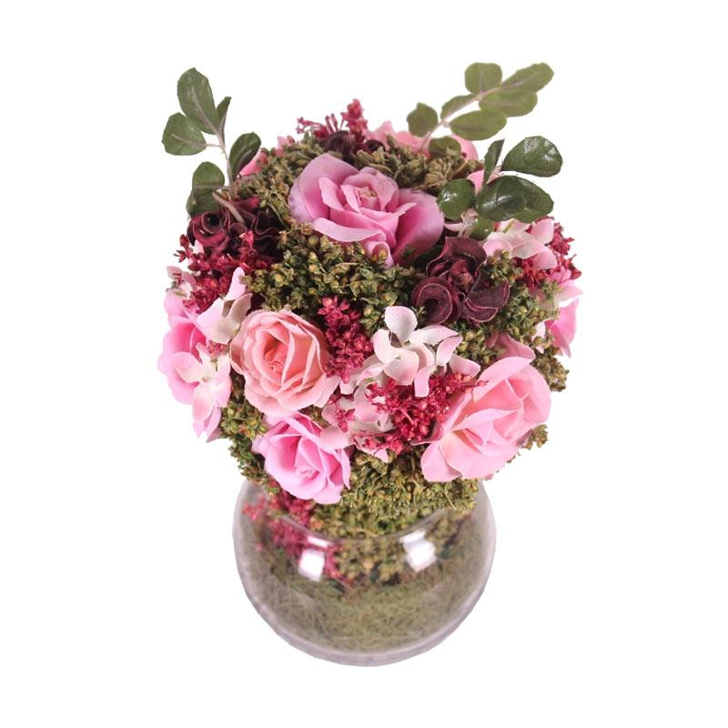 Thema Home 1280 A Roses Gypso Topiary In GLS Ball Shape Vase Bungga - Pink