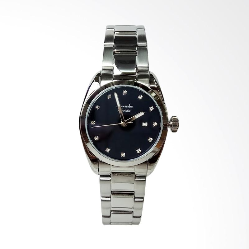 Alexandre Christie AC8534LD Stainless Steel Jam Tangan Wanita - Silver Black