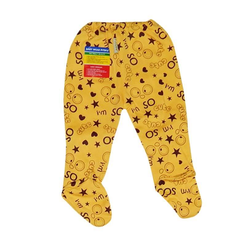 Piteku Motif Tutup Kaki Celana Bayi - Kuning