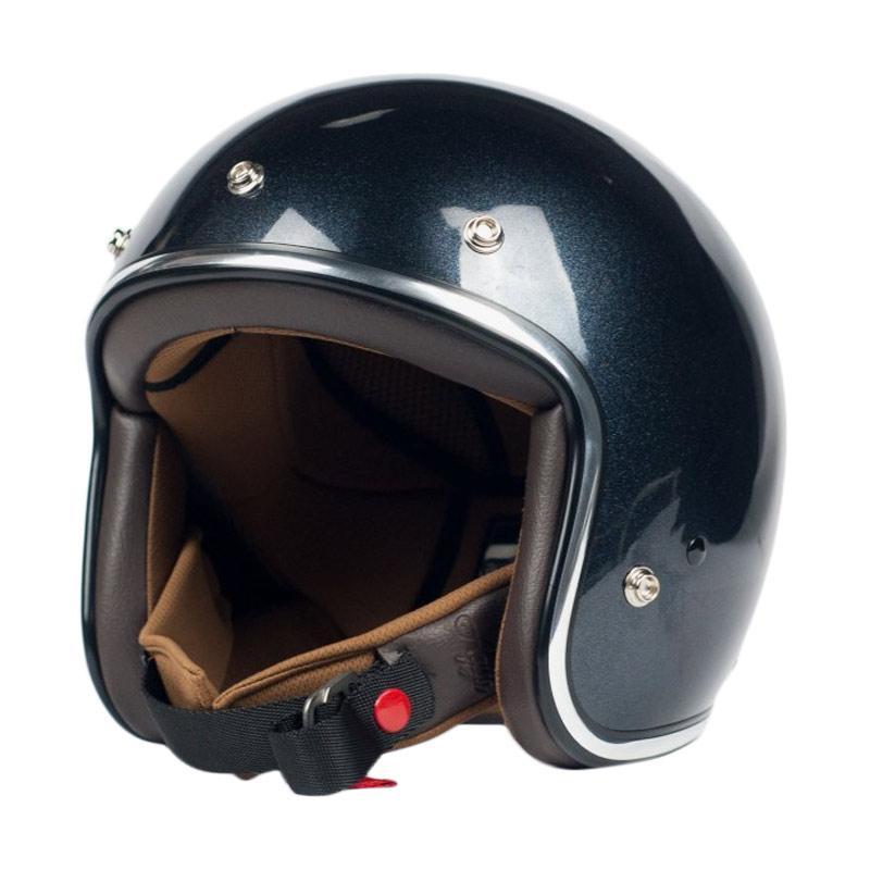 AGYO Helmet SS Pearl Black Gloss Padding Helm Half Face - Dark Brown