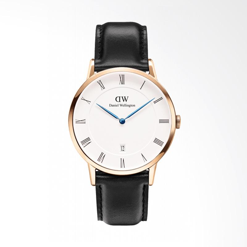 Daniel Wellington Dapper Sheffield Strap Kulit Jam Tangan Pria - Rose Gold [38mm]