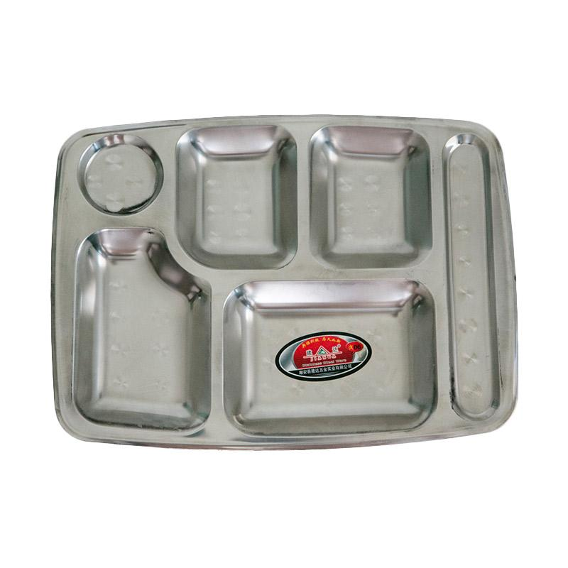 HAN D056 Tempat Makan Stainless - Perak [35 x 26 cm]