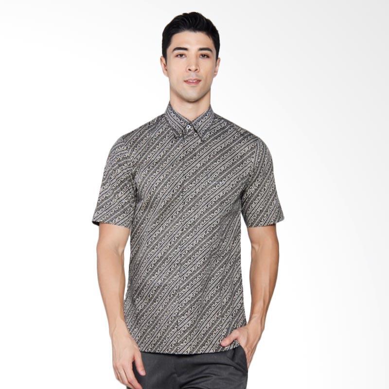 Batik Heritage Katun Premium Lurik Slim Fit Pendek Kemeja Pria Lengan Pendek - Hitam Abu