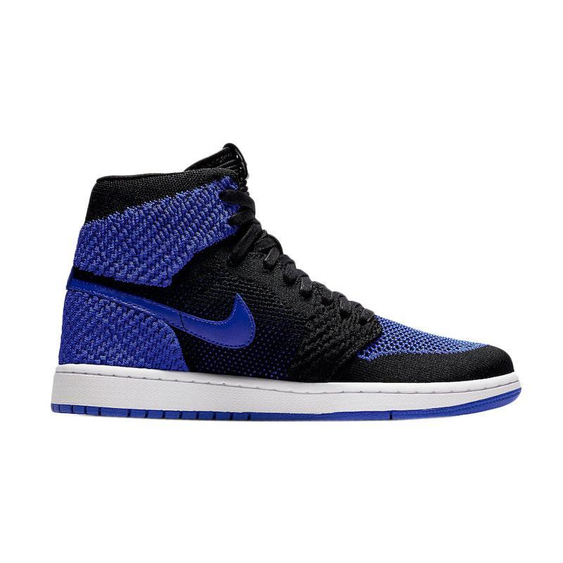 NIKE Men Air Jordan 1 Flyknit Royal Sneakers Sepatu Olahraga Pria Blue Black