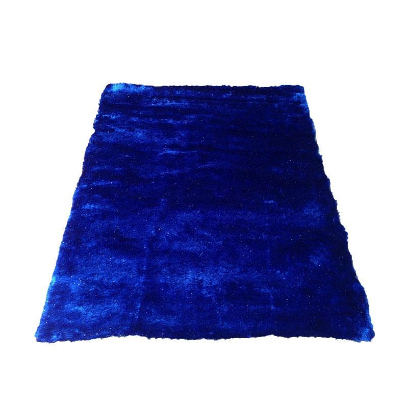Tren-D-Rugs Karpet Shaggy Polos - Biru [100 x 150 cm]