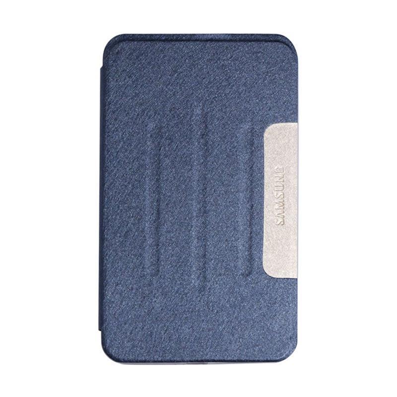 QCF FlipShell Flip Cover Samsung Tab Leather Casing for Samsung Galaxy Tab 4 T330 8.0 Inch - Biru Tua