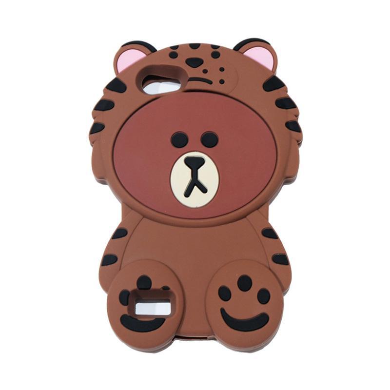 QCF 4D Karakter Beruang Kostum Singa Silicone Softcase Casing for Oppo A33 Neo 7 - Coklat