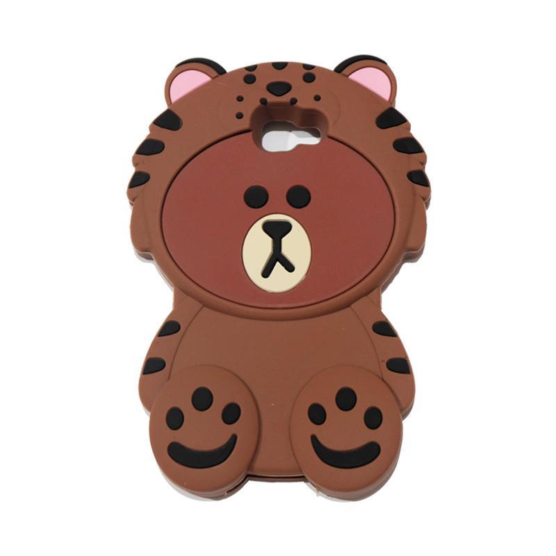 QCF 4D Karakter Beruang Kostum Singa Silicone Softcase Casing for Samsung Galaxy J5 Prime - Coklat