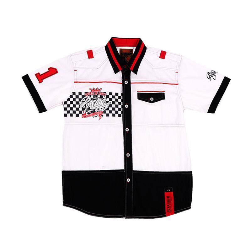 Woffi HK5-04-741 Racing Kemeja Pendek Baju Atasan Anak - Putih
