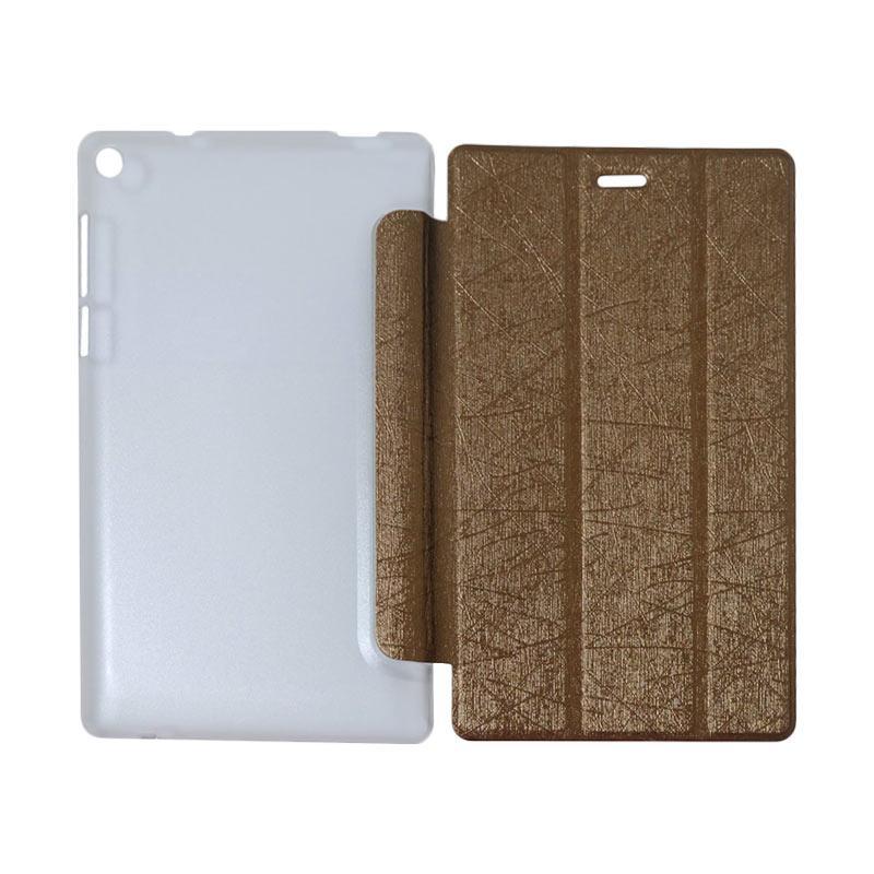 QCF Flip Cover Tablet Lenovo Tab 3 7.0 Inch Essential PB-710L Leather Case Dompet Tablet Lenovo PB 710L - Coklat