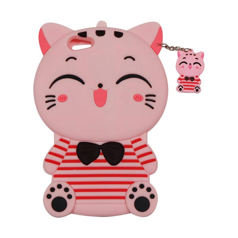 QCF Softcase 4D Karakter Kucing Lucky Cat Pink Silicone 4D Casing for Oppo F1S Selfie Expert / A59 - Pink