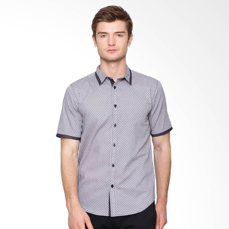 A&D Fashion Mens Casual Short Sleeve Kemeja Pria - Grey [Ms 990]