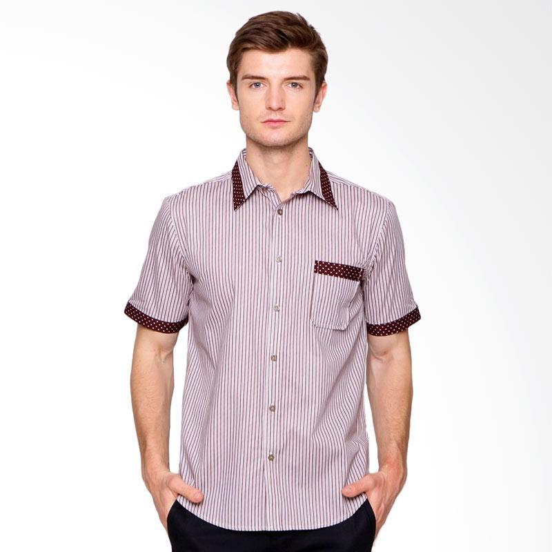 A&D Fashion Mens Casual Kemeja - Brown Motif [Ms 894]