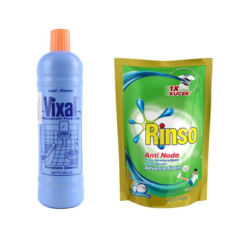 RINSO Anti Noda Liquid Detergent Pouch [800 mL] dan Vixal Biru Kuat Harum Pembersih Porselen Biru Botol [800 mL]