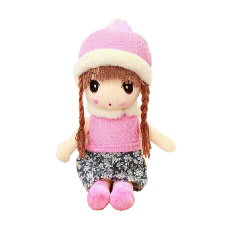 Boneka Murah Lucu Girl Import Topi Winter Boneka - Pink