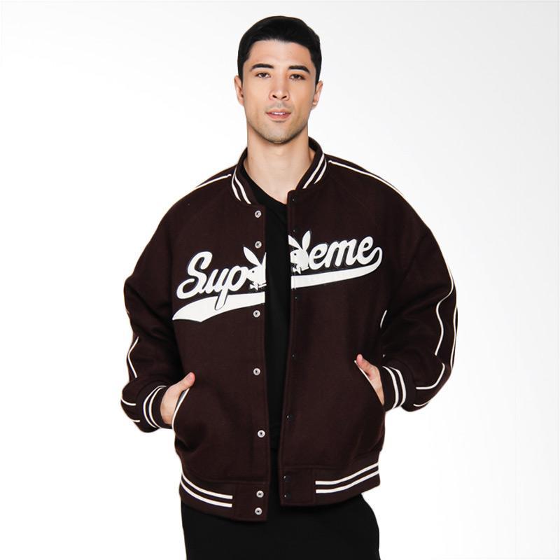 Supreme New York Playboy Wool Varsity Jacket Pria - Dark Brown