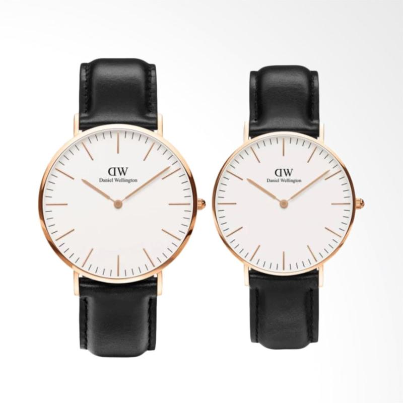 Daniel Wellington Couple Set Classic Sheffield Jam Tangan Couple - Hitam Rose Gold