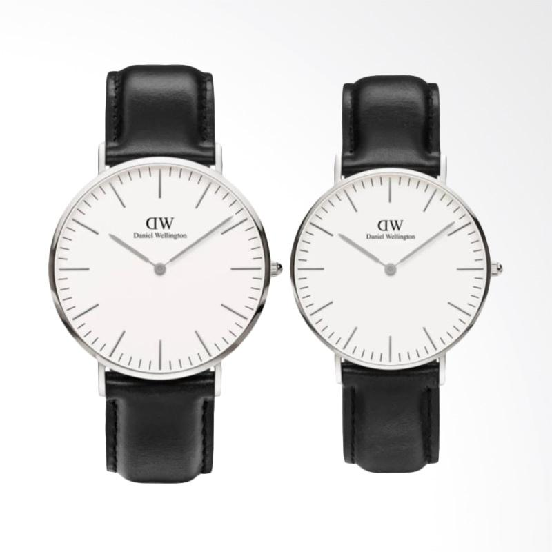 Daniel Wellington Couple Set Classic Sheffield 40mm & 36mm Jam Tangan Couple - Hitam Silver