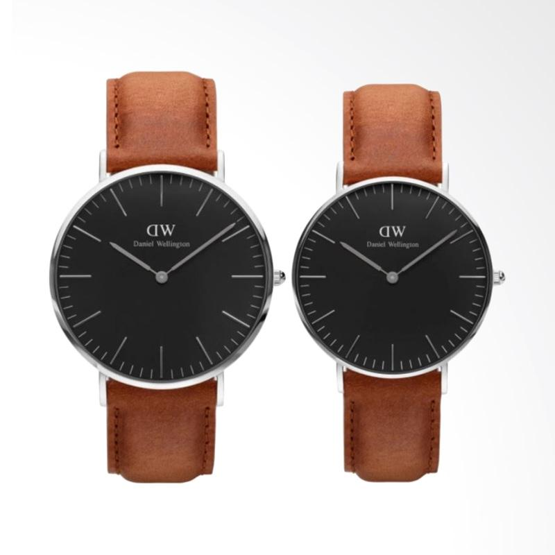 Daniel Wellington Classic Black Durham Set Jam Tangan Couple - Silver Cokelat Muda [40 & 36 mm]
