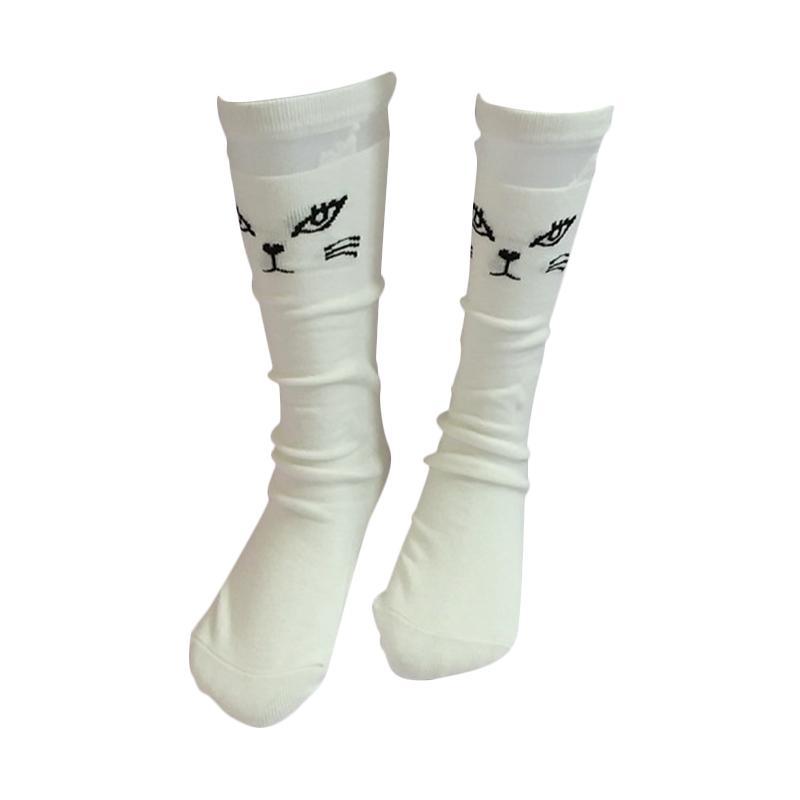 GBS Girls Sock Panjang Cat Kaos Kaki Anak - White