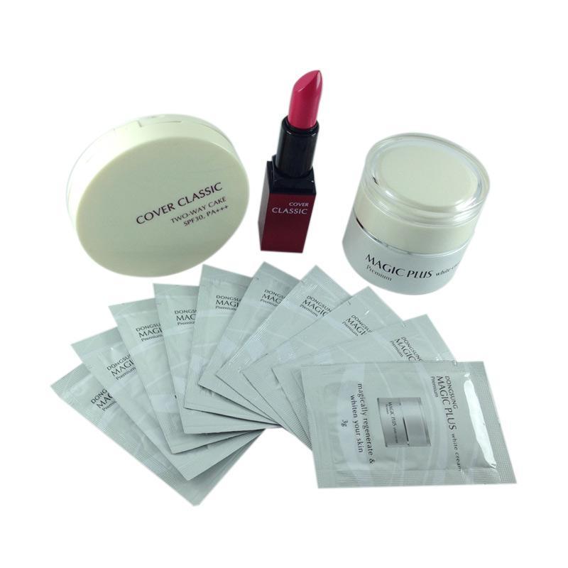Paket Cantik Sempurna Magic Plus White Cream [35g/ 3g x 10 Sachet] + Cover Classic Two Way Cake + Lipstick - Rose Pink