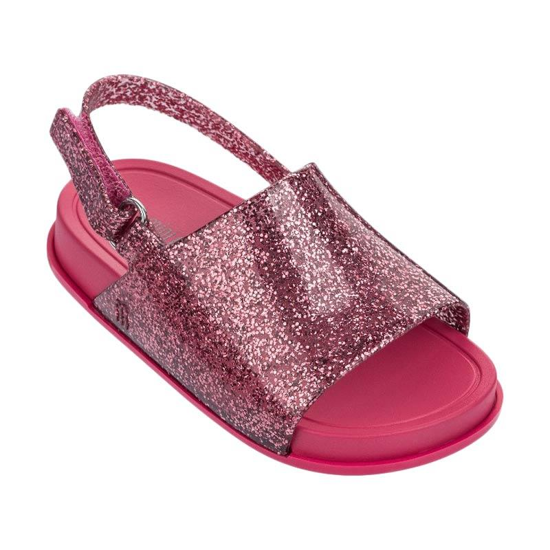 Mini Melissa Beach Slide Sandal Bb Sepatu Anak Perempuan Pink Glitter