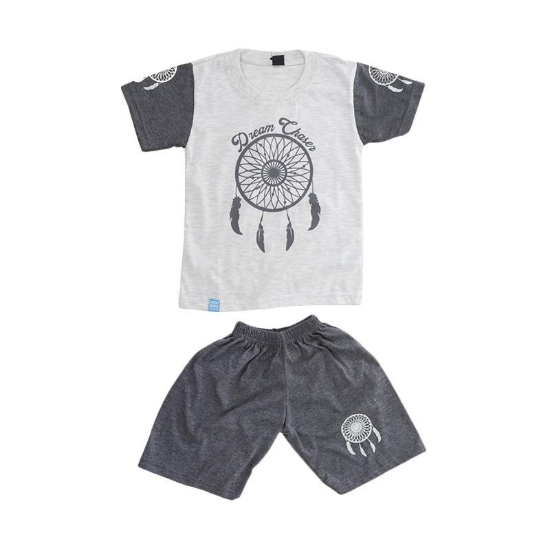 Elfs Shop Sablon Dream Chases Katun Setelan Baju dan Celana Anak Laki-Laki - Abu Muda