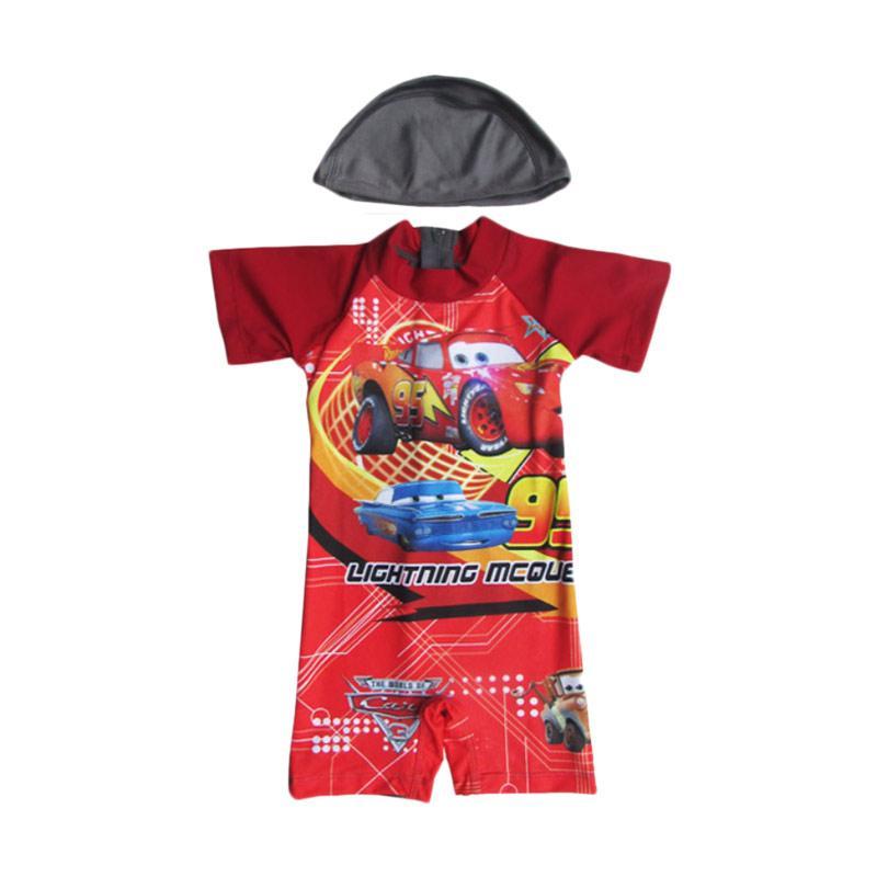 Rainy Collections Karakter Cars Baju Renang Anak - Merah with Topi