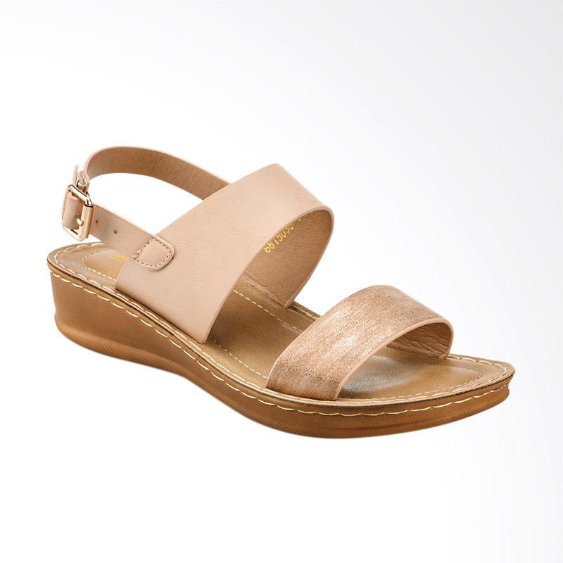 Bata Ladies Adela 6615038 Sandal Wedges Wanita Peach