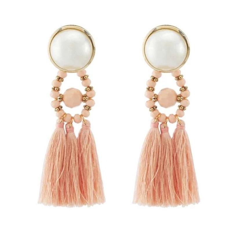SNATCH Pearl Cthulhu Tassel Earrings Coral