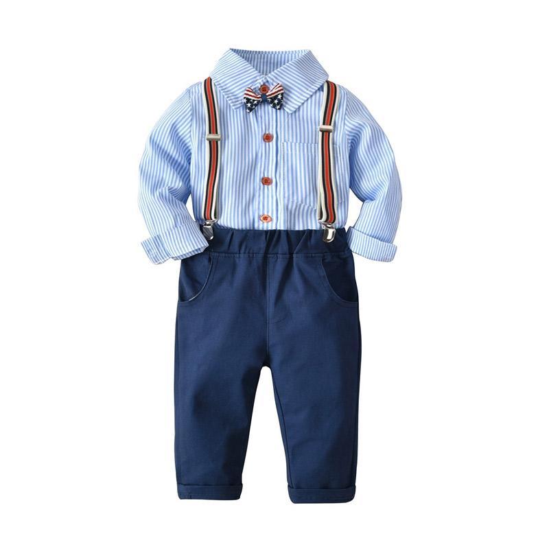 harga VERINA BABY Stripe Plus Suspender and Pants Kemeja Setelan Baju Jumpsuit Anak Laki-Laki - Blue Blibli.com