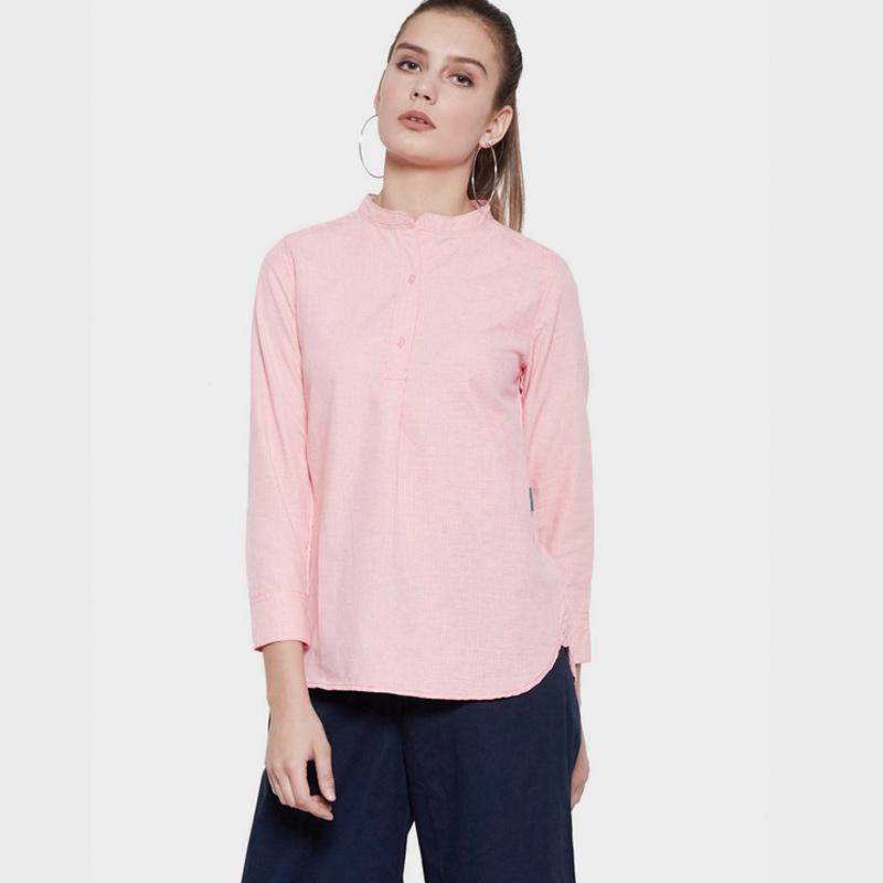 Point One 377981 Skyla Shirt Stripe Kemeja Wanita Pink