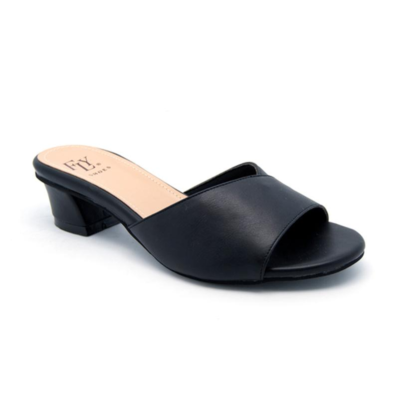 Leather Collection F0950 Ladies Black Slingback Leather Sandals with Toe Loop
