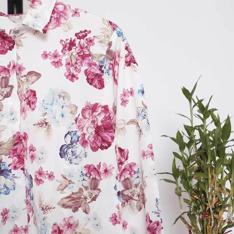 Jual Sevenseas Motif Bunga Elegan Printing Monalisa Kemeja Wanita