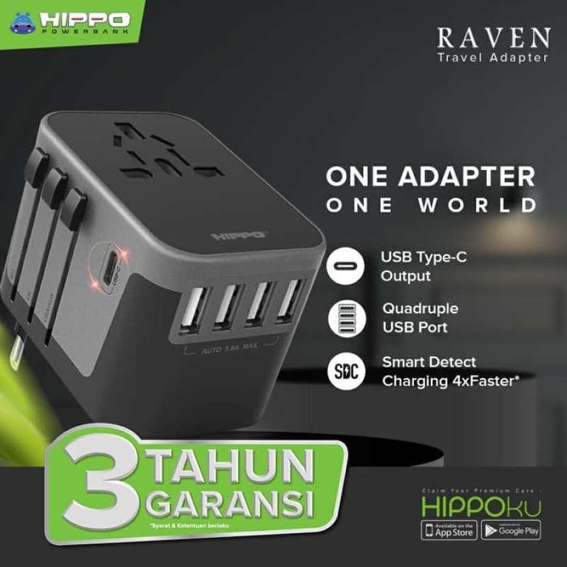 HIPPO TRAVEL ADAPTER RAVEN (4 USB A + 1 USB C) - UNIVERSAL POWER SOCKET