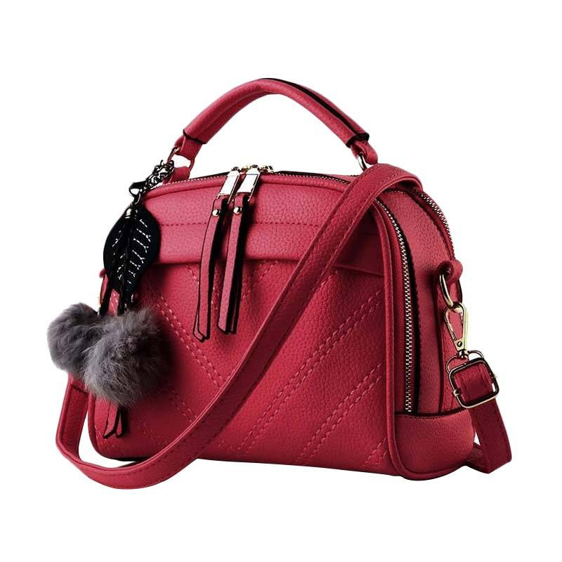 Annies Fashion De Fourrure Tas Wanita - Red
