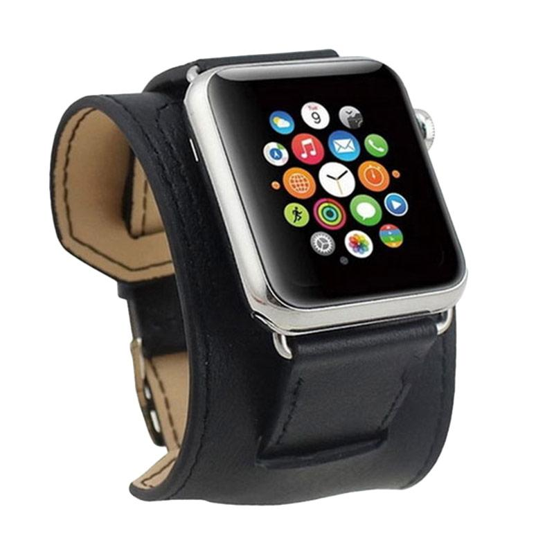 Cuff Leather Strap Band for Apple Watch - Black [42 mm]