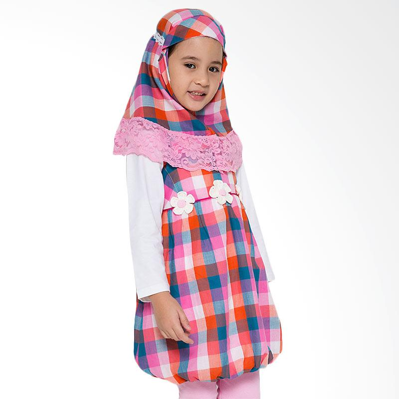 4 You Moslem Plaid Dress Anak - Fuschia