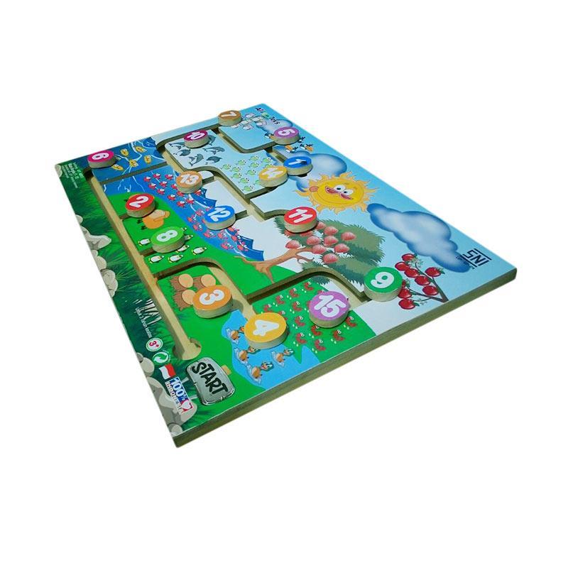Atham Toys Mainan Kayu Edukatif Maze Angka Mainan Anak