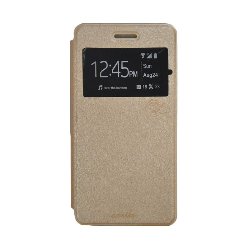 SMILE Standing Flip Cover Casing for LG K4 - Gold