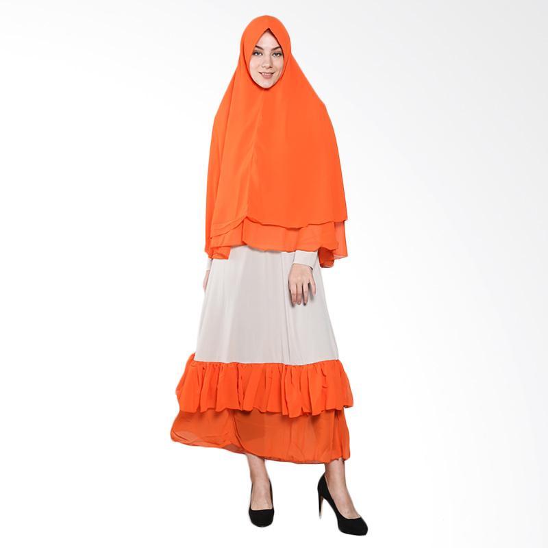 harga Naura Syari Sifon Gamis - Cream Orange Blibli.com
