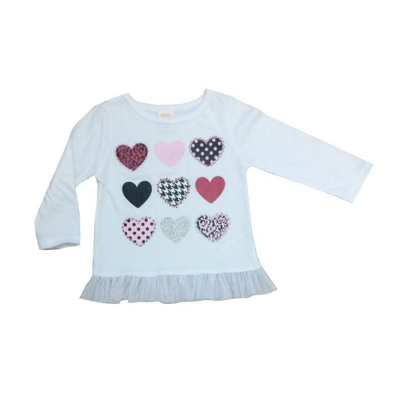 PLEU Blus 9 Hati T-Shirt Baj Atasan Anak Perempuan - Putih