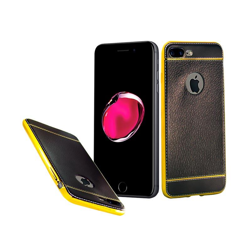 Fashion Luxury Leather Chrome Softcase Casing for iPhone 7 Plus - Black