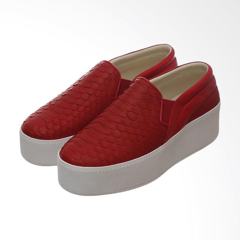 harga Marnova Haven High Platform Flat Slip on Shoes - Red Blibli.com