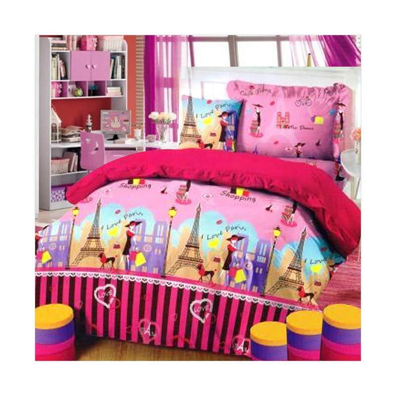 harga Jaxine Motif I Love Paris Katun Set Sprei dan Bed Cover Blibli.com