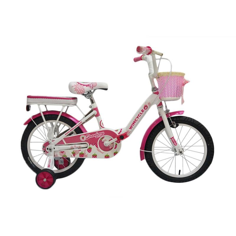 Wimcycle ctb Strawberry Sepeda - Pink White[16 Inch]