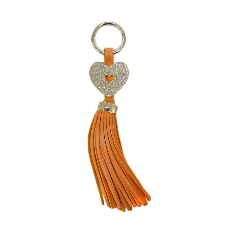 SIV GT-HK03 Rumbai Hati Plus Manik Keychain Gantungan Kunci - Orange