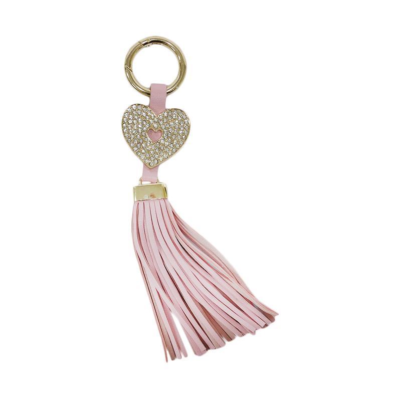 SIV GT-HK07 Rumbai Hati Plus Manik Keychain Gantungan Kunci - Light Pink