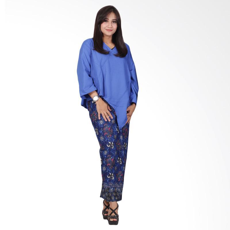 Batik Putri Ayu Solo Katun D89 Dress Batik - Royal Blue