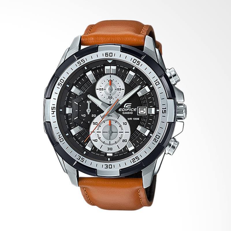 Casio Edifice Chronograph Bahan Tali Genuine Leather Jam Tangan Pria - Coklat EFR-539L-1BVUDF